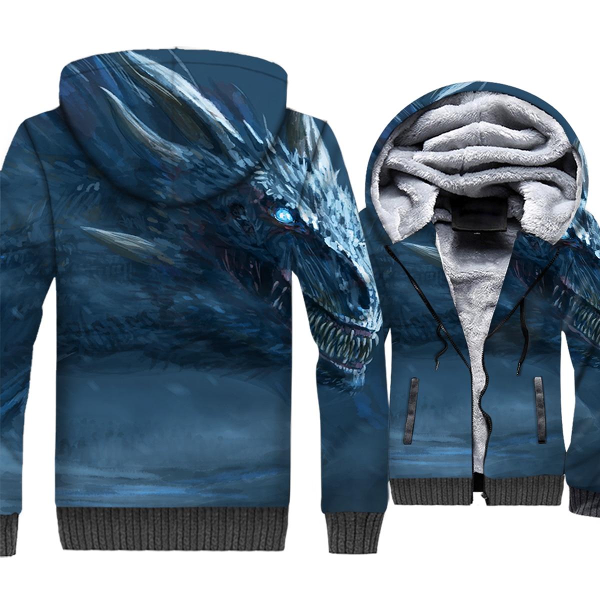 Game of Thrones 3D Print Hoodie Men White Walkers The Night King Hooded Sweatshirt Winter Thick Fleece Zip up Coat Dragon Jacket
