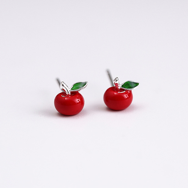 red apple earrings 100% 925 Sterling silver Jewelry fashion Hypoallergenic Stud earrings for women girl Christmas gift
