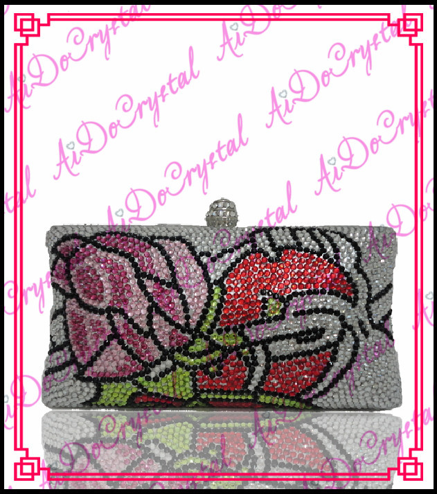 Aidocrystal pure handmade crystal red flower white clutch bag for ladies