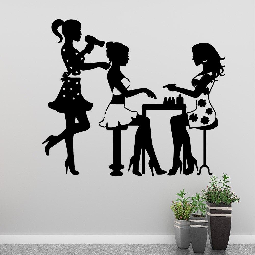 Modern beauty salon Wall Sticker Pvc Decals For Beauty Salon Art Mural Stickers Commercial Decal Wallpaper