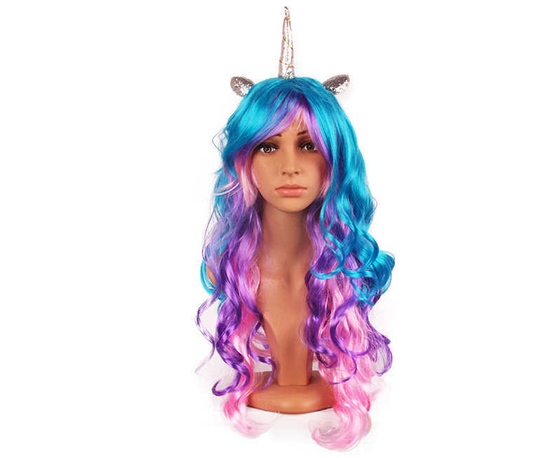 Rainbow Unicorn Pony Cosplay Halloween Christmas New Year Cosplay Accessory Colorful Headwear Accessories Hair + Cap