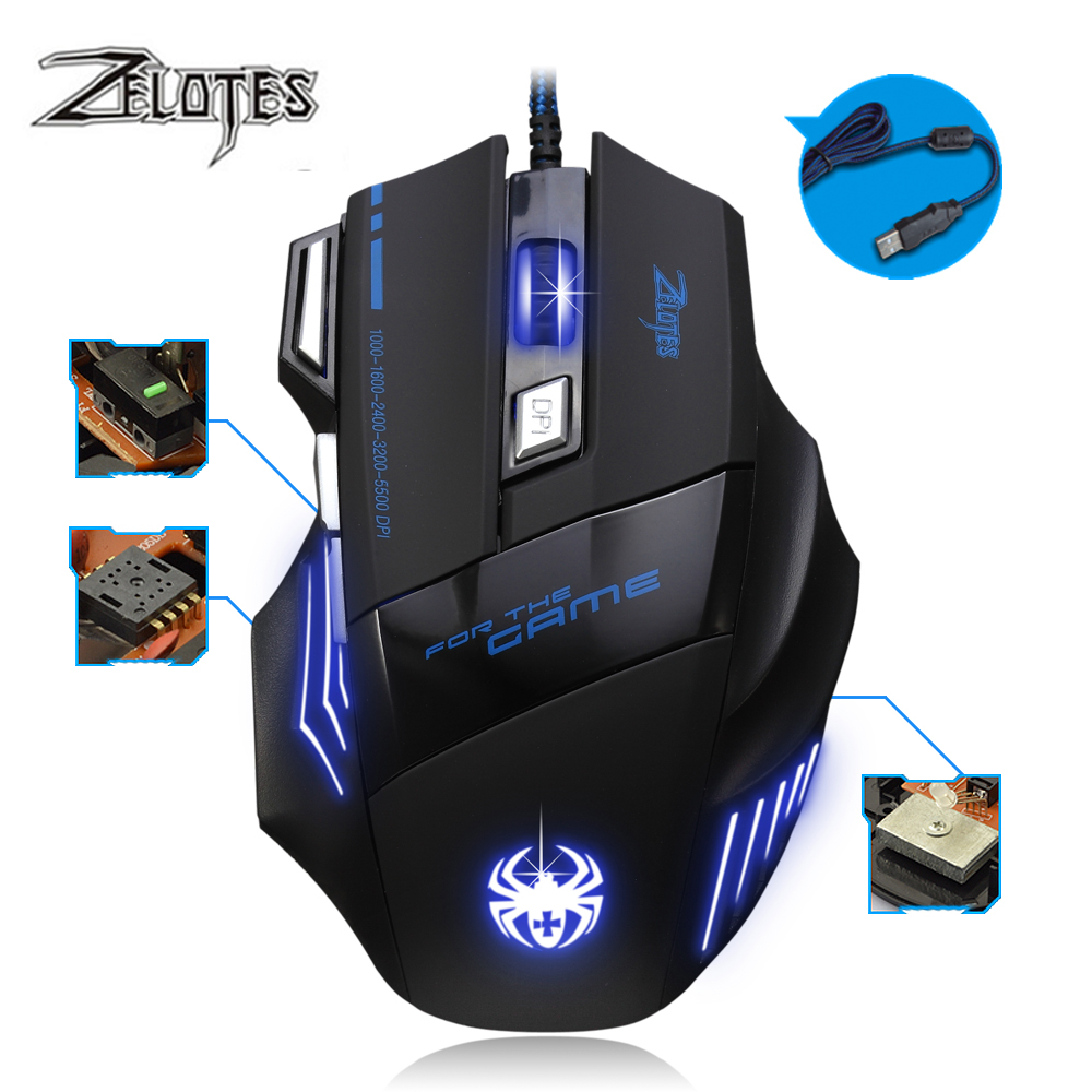 Image 2 - ZELOTES T 80 7200 DPI Backlight Multi Color LED Optical 7 Button Mouse Gamer USB Wired Gaming Mouse for Pro Gamer-in Mice from Computer & Office
