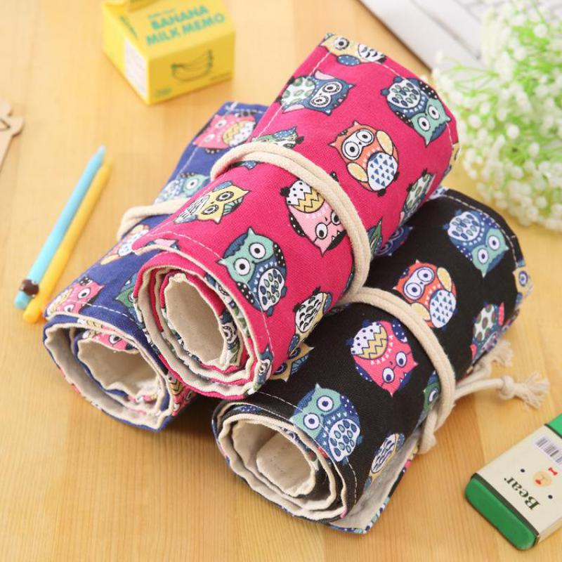 72 Hole Cartoon Owl Ethnic Style Roll Pencil Bag For Girls Boys High-capacity Pen Case Art Supplies Kawaii Stationery Papeleria perfect pencil case pencil bag feather sleeve pencil case for 72 pen color blue
