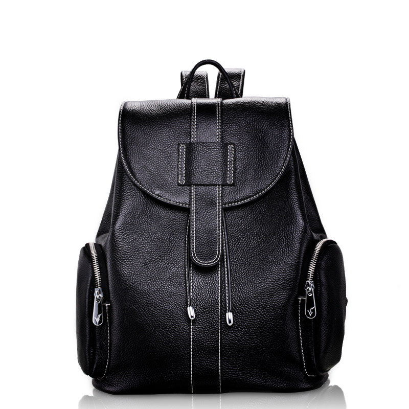 Luxury Top Quality Thread Design Women's Backpack Classical Black Laptop Backpack 100% Real Leather Lady Travel Bagpack