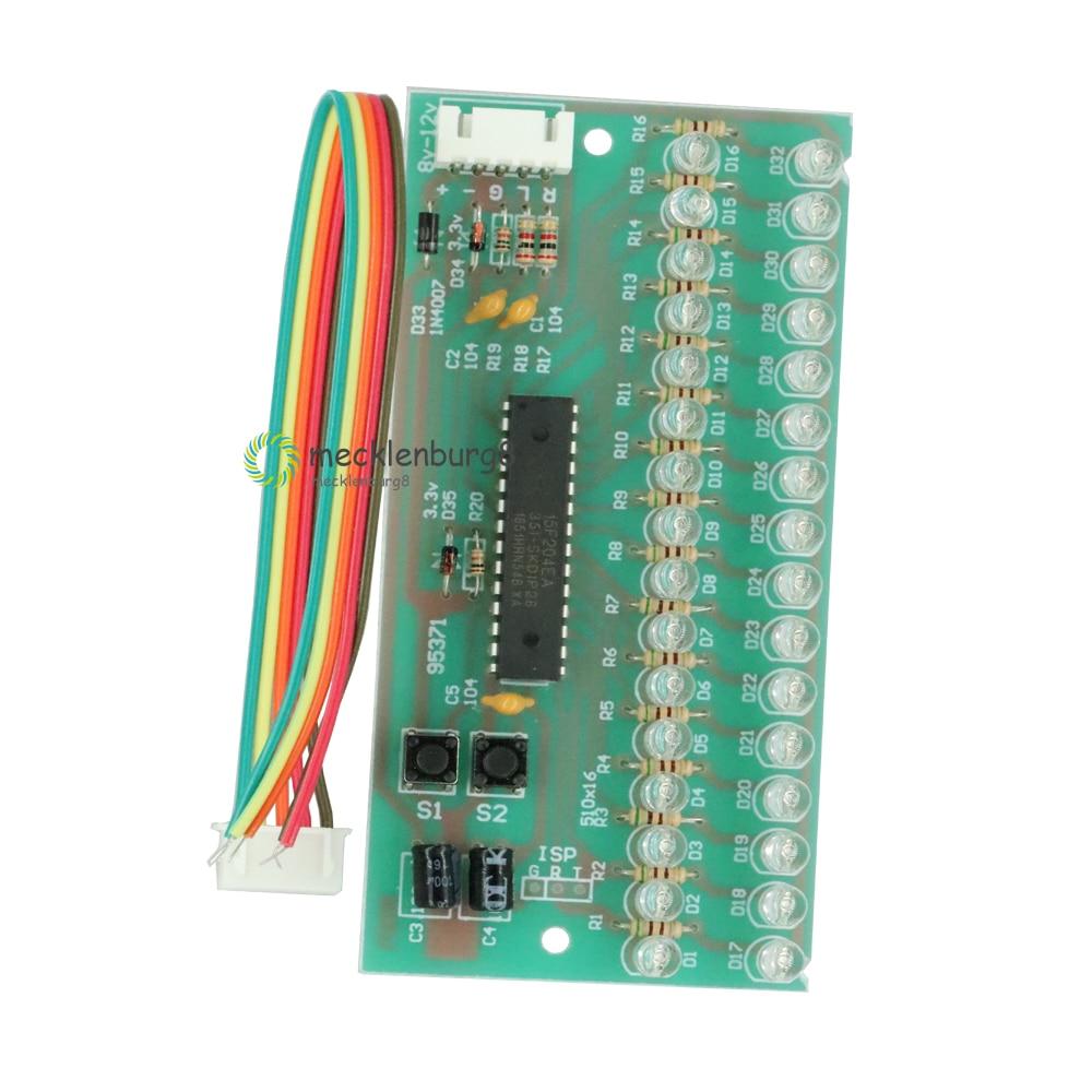 MCU Adjustable Display Pattern LED VU Level Meter Indicator Audio Amplifier 16 LED Dual Channel Green Light Lamp DC 8 V To 12 V