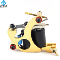 OPHIR Golden Cast Iron Frame 8 Wrap Coil Dual Coiled Tattoo Machine Shader TA015