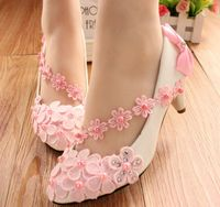 Pink Lace Flowers Womens Wedding Party Pumps Shoe Med Heel Sweet Hand Made TG198 Pink White