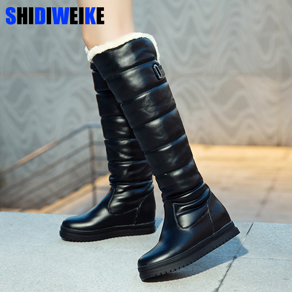 Russia Winter Boots Women Warm Knee High Boots Round Toe Down Fur Ladies Fashion Thigh Snow Boots Shoes Waterproof Botas N318