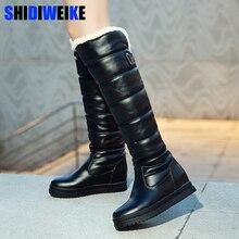 รัสเซียฤดูหนาวรองเท้าผู้หญิงเข่าสูงรองเท้าบูทรอบToeลงขนสุภาพสตรีแฟชั่นต้นขาหิมะรองเท้ากันน้ำBotas n318