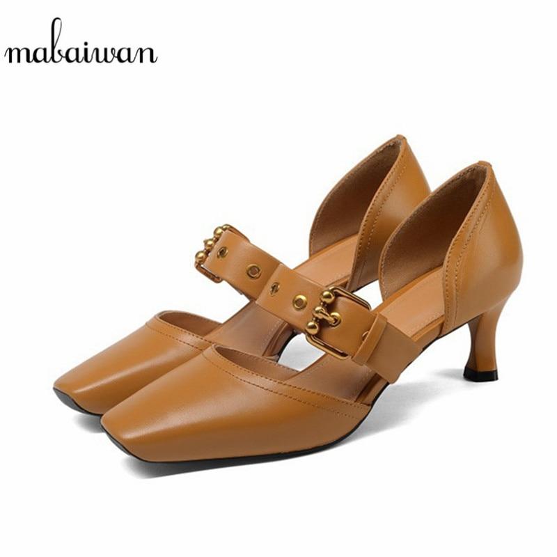 Mabaiwan Fashion Design Women Shoes Strange Heel Sexy Ladies Square Toe High Heels Buckle Wedding Dress Shoes Woman Pumps Boots