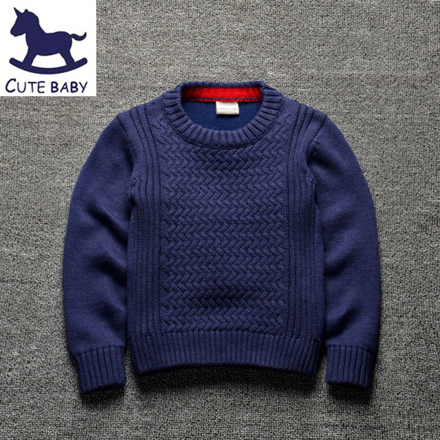 efda012894 Spring Autumn new style baby boys Pure color sweater children Knitting boy  pullover for boys 2