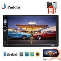 Podofo 2din Car Radio 7 Auto Radio MP5 Player Touch Screen Digital Display Bluetooth USB/AUX Support Mirror Link+steering wheel