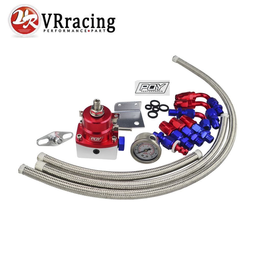 VR RACING - Universal Adjustable Fuel Pressure Regulator Oil 160psi Gauge AN 6 Fitting End WITH/WITHOUT PQY LOGO + STICKER