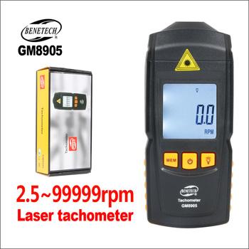 BENETECH Auto tachometr ręczny cyfrowy elektroniczny Mini tachometr laserowy Rpm Portabel GM8905 2 5-99999rpm tachometr laserowy s tanie i dobre opinie GM8905-BENETECH Obrotomierz 0 1rpm (2 5 ~ 999 9rpm) 1rpm (1000 ~ 99999rpm) CLASSII 2-5mW 1 times sec 50-500mm quartz crystal
