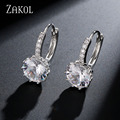 ZAKOL Fashion Semi-precious Stone Round Shape Girl Simple Hoop Earrings With Silver Plated For Anniversary Bague FSEP104
