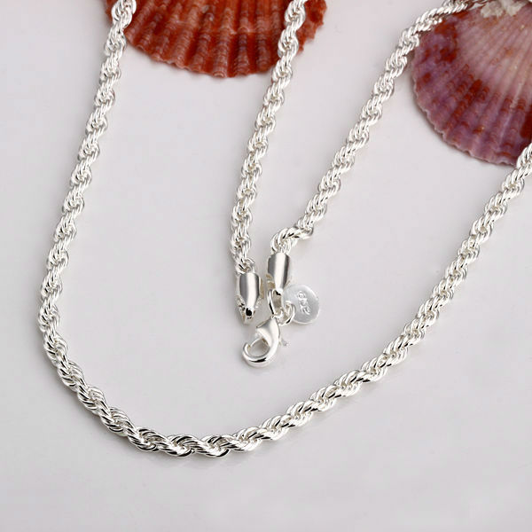 2mm Rope chain necklace,Wholesale lots Fashion jewelry 925 real silver plated je
