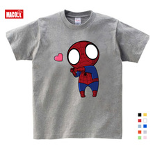 boys summer clothes Spiderman Ironman Captain America T shirt Summer Short Sleeve Superhero Kids Cotton gray t shirts 3T-9T