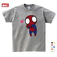 boys summer clothes Spiderman Ironman Captain America T shirt Summer Short Sleeve Superhero Kids Cotton gray t shirts 3T-9T