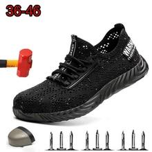 Safety Shoes Brand Summer Lightweight Steel Toecap Unisex Work Boots Breathable Men Women Plus Size Shoe