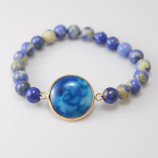 Sodalite Beaded Bracelet Handmade Semi-Precious Jewelry Intentional Crystal Jewelry for Her Blue Gemstone Bracelet