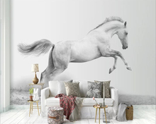 Custom wallpaper 3d stereo photo murals modern minimalist white horse color paint Nordic style TV background wall paper mural