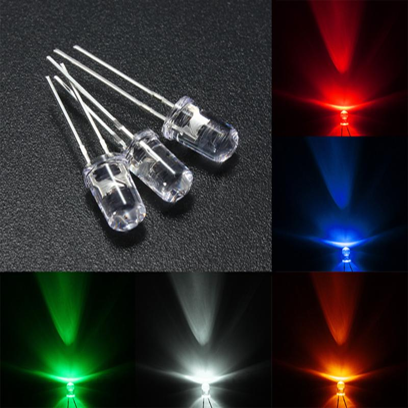 100 pçs/lote pernas curtas 16mm ultrabright vermelho/verde/azul/branco/amarelo ultra brilhante 5mm redondo led diodo f5 3.0-3.2v