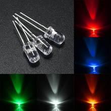 Lot de 100 diodes LED rondes Ultra lumineuses F5, 16MM, Ultra droite, rouge/vert/bleu/blanc/jaune, 3.0-3.2V