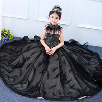 Luxury Shoulderless Princess Dress Beading Royal Ball Gown Dress Kids pageant For Weeding Birthday Payty girls Formal dress M04