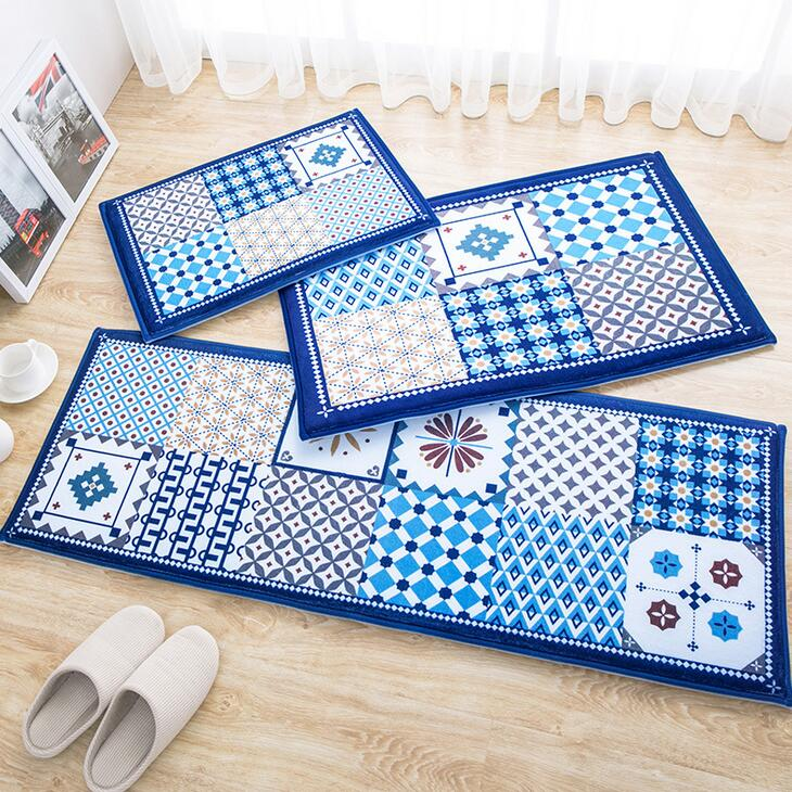 Classic Nordic Style Blue Flower Arts Pattern Home Deco Carpet Living Room Bedroom Fleece Fabric Mats