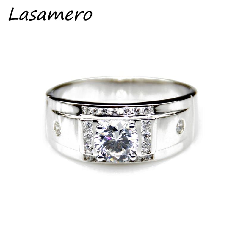 LASAMERO Pánská diamantová svatební kapela 1.0ct Moissanites Lab - Šperky