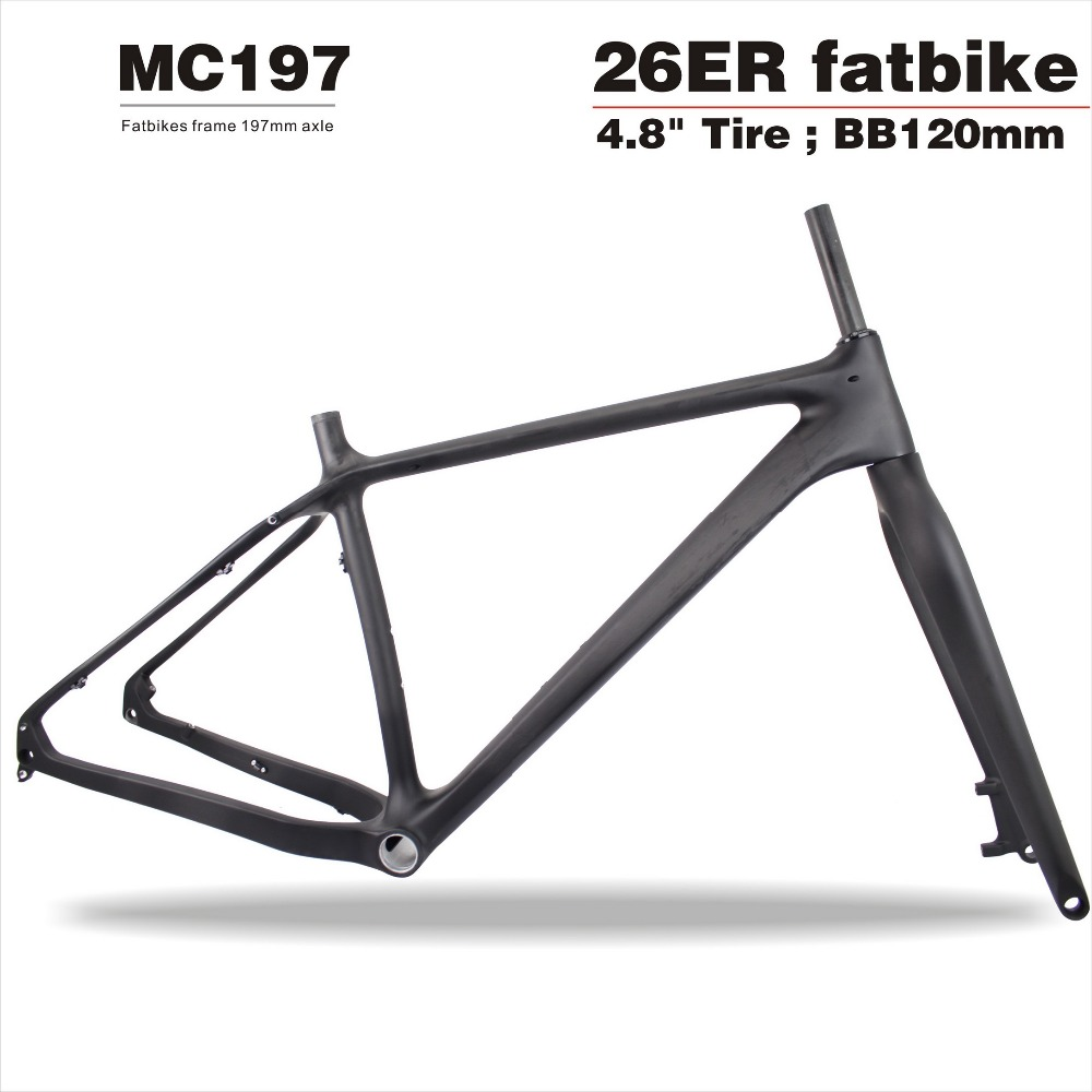 High end 2017 cheap 12*197mm Thru-axle Carbon Fat Bike Frame+fork,Snow bikes 26er*4.8 Fatbike tire Carbon Bike Frame MC197 2016 new thru axle qr 26er fat bike full carbon snow frame bsa carbon fat bike frame for fat bike cc cmf 010