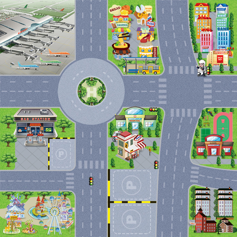 Puzzle Road Sign Drawing Parking Lot City Simulated Dlloy Car Sene