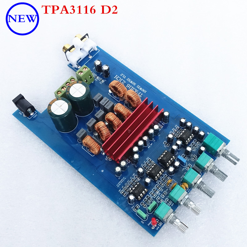 50W * 2 + 100W New DP1 <font><b>TPA3116</b></font> <font><b>D2</b></font> NE5532 * 4 <font><b>2.1</b></font> HIFI Audio Digital Amplifier Board Subwoofer 95x150MM image