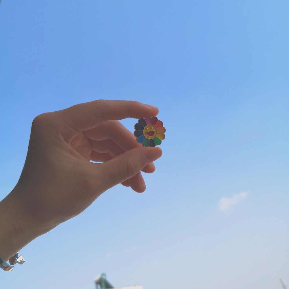 Многоцветный цветок эмаль булавка мультфильм растение значок на штифте Детская Брошь 4 стиля солнце цветок броши для друга ребенок ювелирные изделия