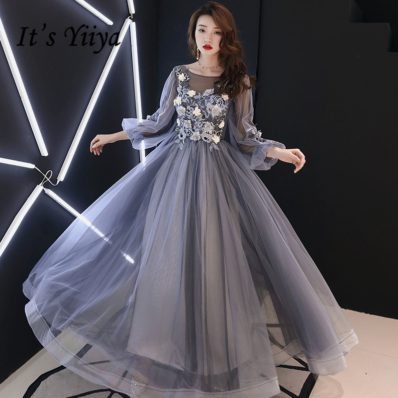 It's YiiYa Evening Dresses Royal Crystal Lace Illusion Wedding Formal Dress Elegant Flowers Pearls Appliques Party Gowns E294