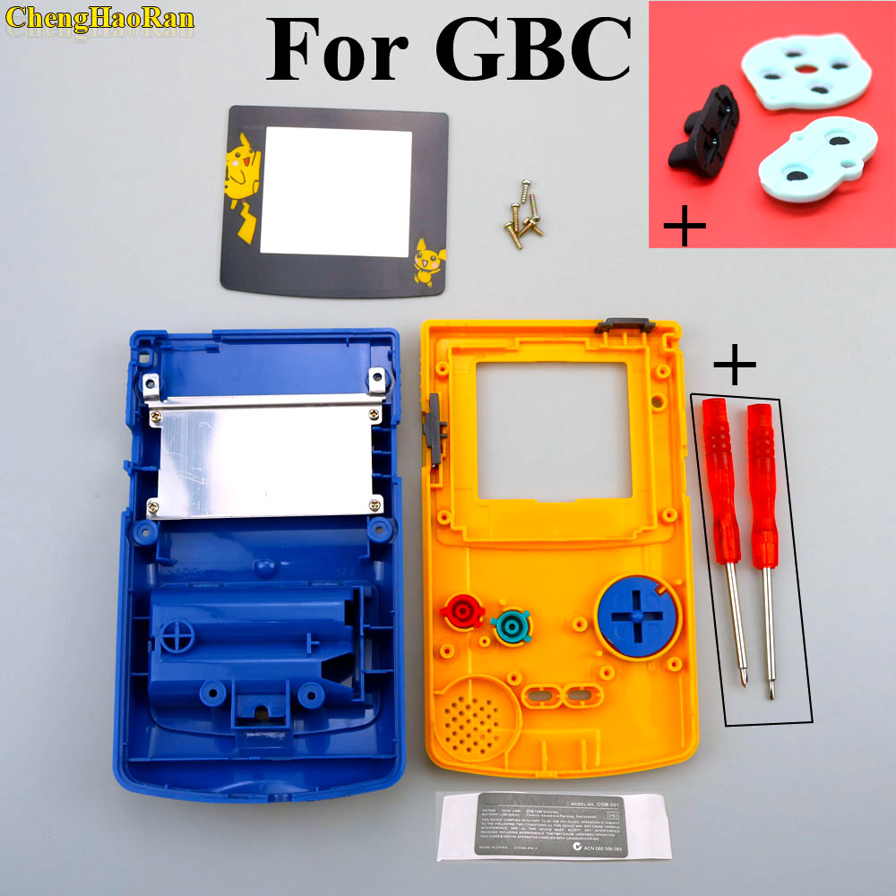 1x For GBC Housing Limited Yellow + Blue Poke mon Pika chu Case Shell Housing Case For GameBoy Color w/ Rubber Pads Screwdrivers(China)