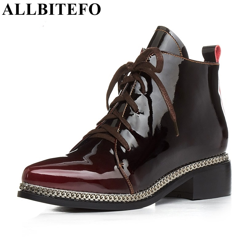 ФОТО ALLBITEFO size:33-43 High quality genuine leather Gradient color short women boots pointed toe chains thick heel martin boots
