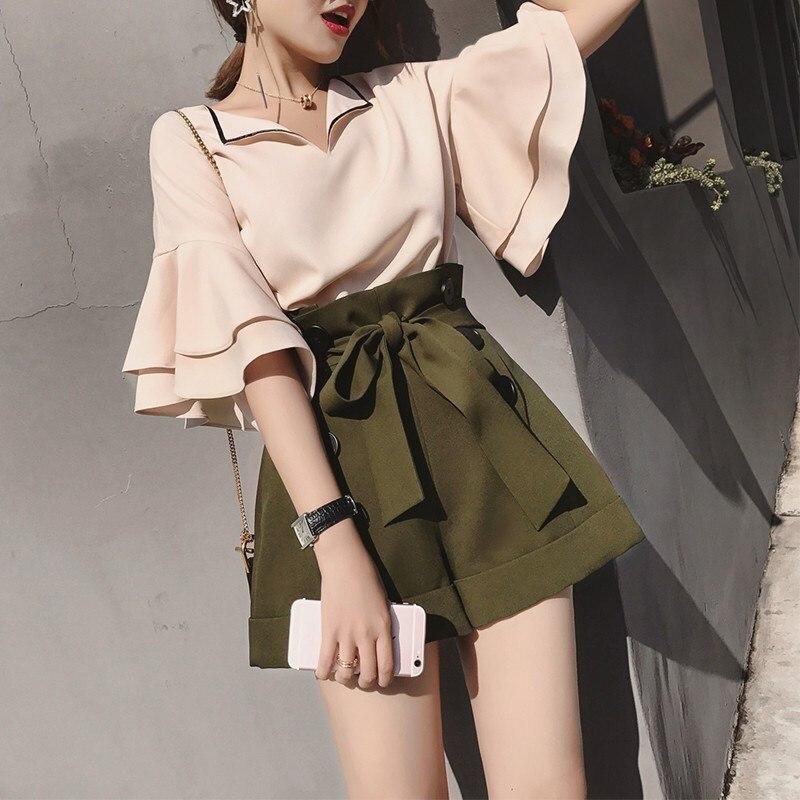 Short Female Cotton 2018 Office Sleeve Set Piece Shorts Women's Suit Summer Casual Women neck Costumes Two V green Khaki Tops Linen qwBw6C0