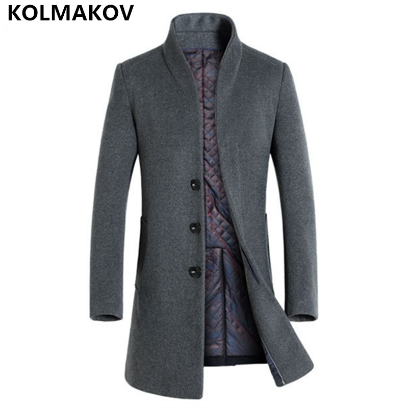 Energetic 2018 Autumn Winter Trend Mens Woolen Jackets Trench Coat Men Outwear Collars Windbreaker Woolen Business Casual Overcoat Homme 100% Original Wool & Blends
