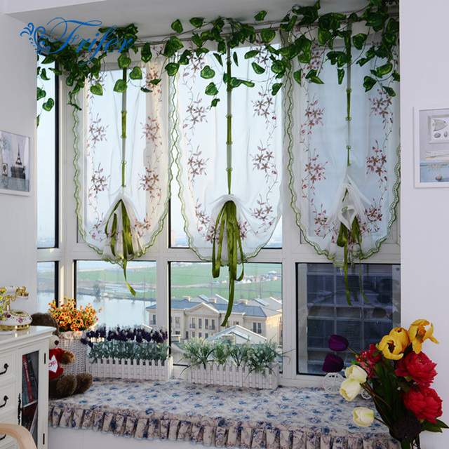 Tulled Roller Blinds Curtain Roman Curtains Embroidered Butterfly Curtains  For Kitchen Living Room Bedroom Window Screening