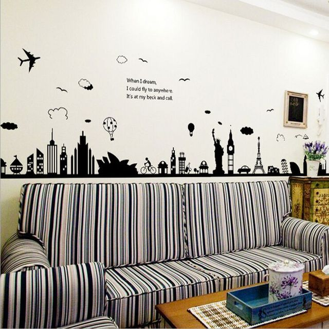 Fashion eiffel tower sydney greek city building set diy wall stickers living room background decor mural