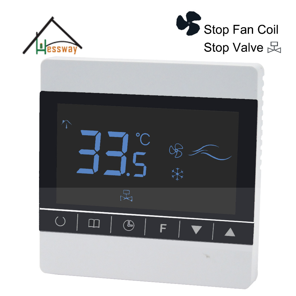 Fahrenhite/Centigrade Child lock Stop Valve stop fan Coil Touch screen room fan coil unit thermostat with Acrylic material iec certificate programmable timer smart touch screen fan coil thermostat with aluminum alloy wire drawing silver