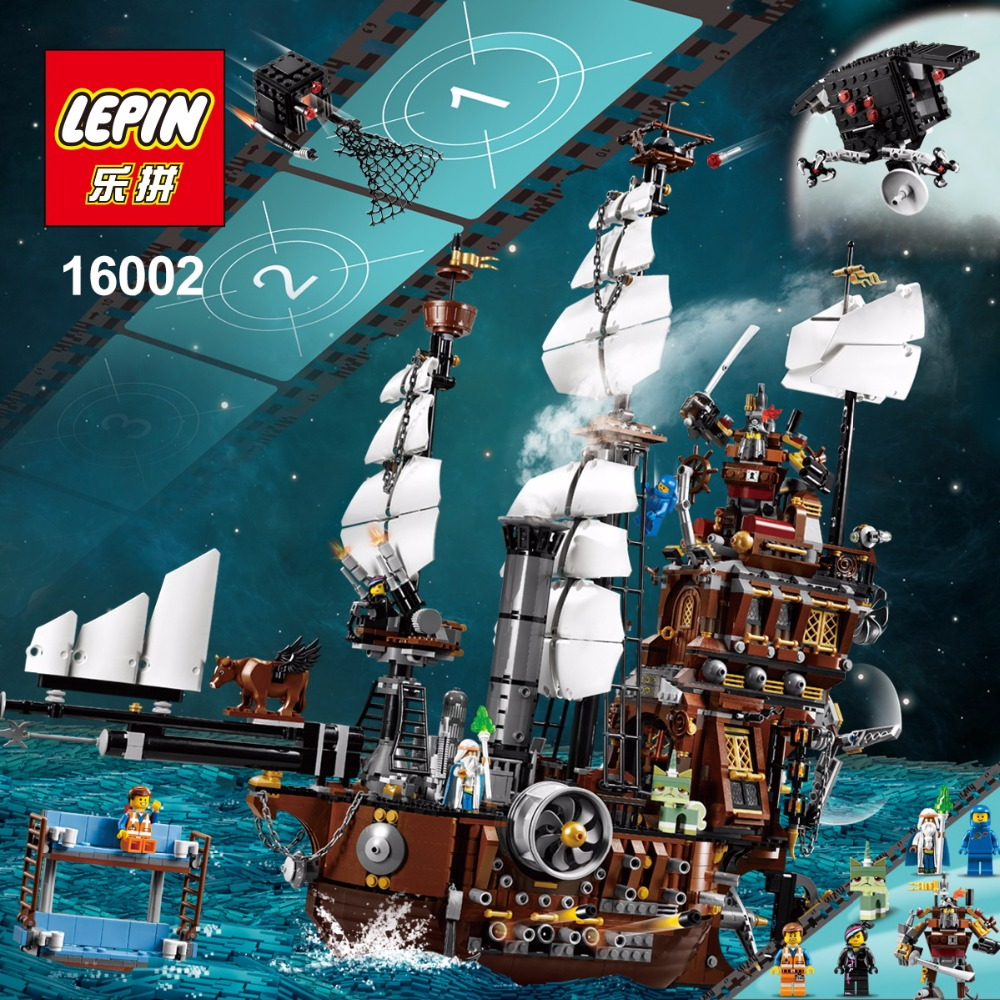 Free Shipping LEPIN 16002 Pirate Ship Metal Beard's Sea Cow Model Building Kits Blocks Bricks Toys Compatible With 70810 susengo pirate model toy pirate ship 857pcs building block large vessels figures kids children gift compatible with lepin
