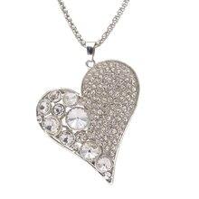 Очарование дамы Стильный Кулон Ожерелье Женщины Посеребренная Сердце Кристалл Rhinestone Девушки Цепи Ожерелья