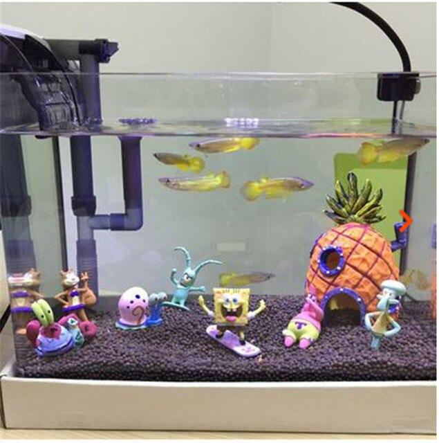 1 Set  Fish Tank Aquarium Ornaments SpongeBob Decoration Pineapple House & Squidward Easter Island & Krusty Krab