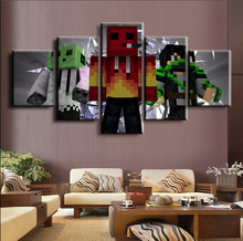 HD Print Picture Painting Minecraft Game Home Decor Artwork 5 Pieces Canvas Wall Art Living Room
