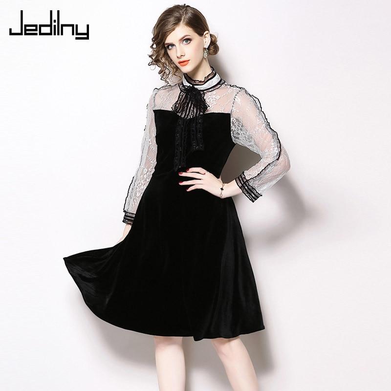 Luxury Lace Stitching Dress Spring Autumn Fashion Long Sleeve Stand Collar Slim Waist Velvet Dress Elegant Party Dress thumbnail