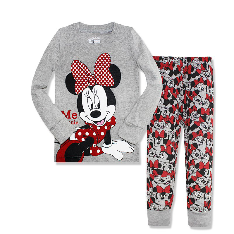 Lovely Cotton Spring Autumn Children Clothing Set Long Sleeve Girl Minnie Clothes Tops+Pants for 2-7 Years Baby Girl Pajamas Set 2017 new kids clothes girls kitty clothing minnie sets baby cotton costumes children girl pajamas set roupas conjunto menina