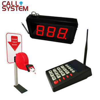 One set display monitor keyboard ticket dispenser desk column Simple Queue Management System for Hospital Restaurant