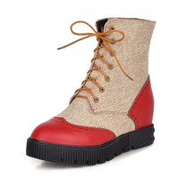 Mixed Colors Round Toe Flat Riding Boots For Women Ankle Lace Up Winter Fall Boots